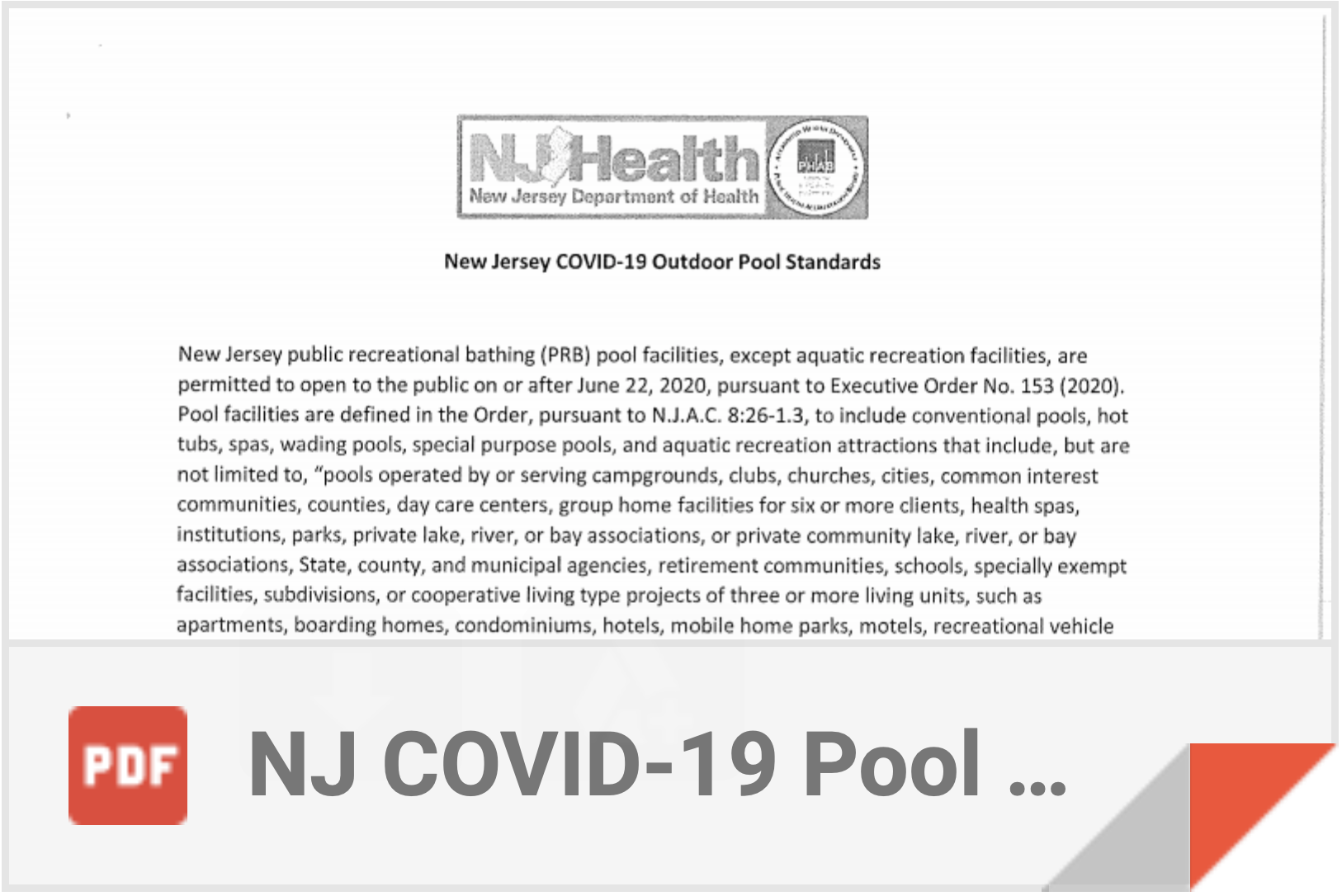 COVID-19 Pool Standards